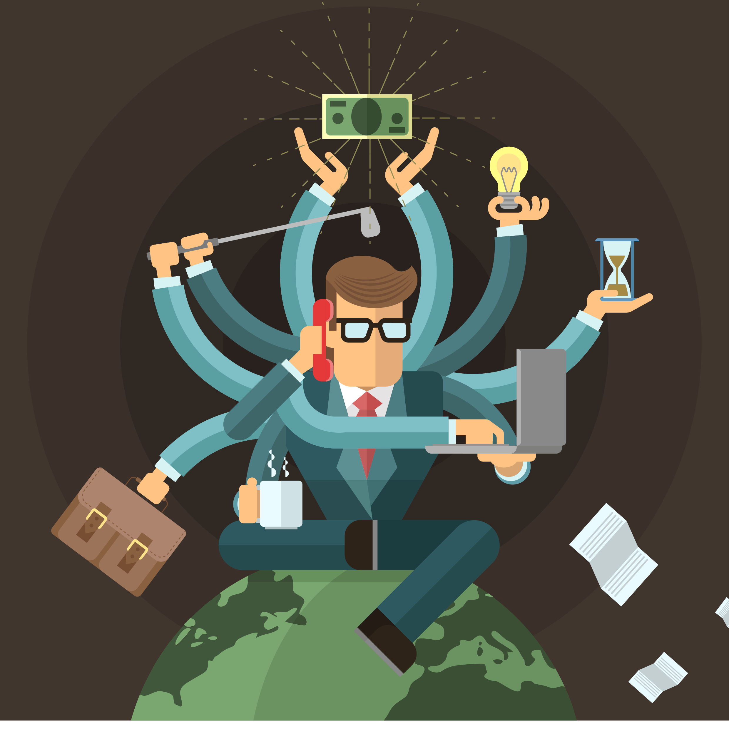 slidewave - image of busy entrepreneur who hasn't discovered software outsourcing